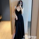 吊帶裙 2021春秋季新款輕熟復古內搭吊帶小黑裙女長款氣質v領開叉連衣裙 【99免運】