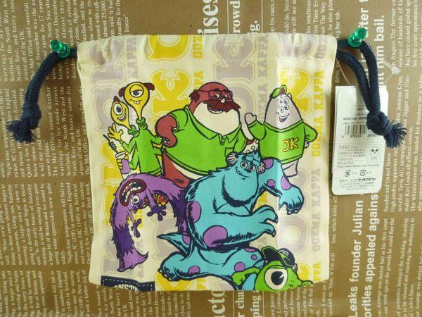 【震撼精品百貨】Monsters University_怪獸大學~束口袋/縮口袋-綜合圖案-米白色