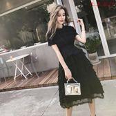 赫本小黑裙黑色顯瘦蓬蓬蛋糕裙雪紡連身裙