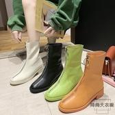 前拉鏈馬丁靴女單靴短靴復古百搭粗跟時尚【時尚大衣櫥】