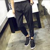夏季條紋寬鬆休閒哈倫西裝褲男士加肥加大碼九分西褲9分闊腿褲潮  巴黎街頭