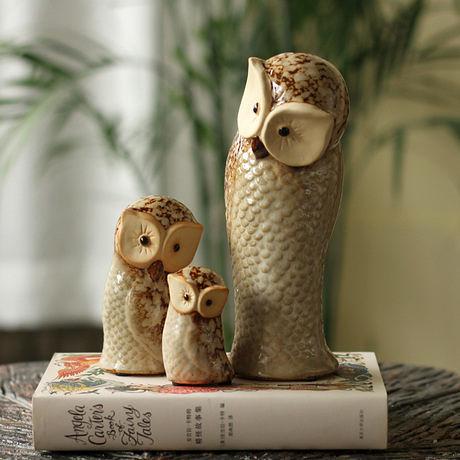 鎮宅風水陶瓷擺件 貓頭鷹一家三件套