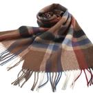 S.T.Dupont 羊駝毛混紗時尚格紋圍巾(咖啡系) 989120-5