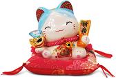 【金石工坊】闔家平安元氣貓-藍水晶(高9CM)招財貓 陶瓷開運桌上擺飾 撲滿存錢筒