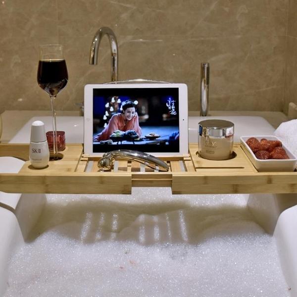 竹制浴缸架伸縮多功能衛生間置物架浴室泡澡紅酒架支架浴缸置物板 交換禮物
