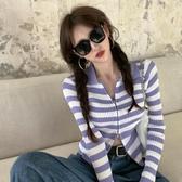 限時特銷 優質秋季新款女裝韓版潮百搭顯瘦長袖上衣POLO領條紋拉鏈針織開衫