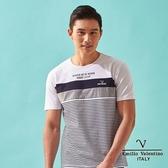 【Emilio Valentino】范倫鐵諾雅痞橫紋休閒條紋短袖圓領T恤 - 白