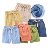 兒童短褲 夏季竹節棉薄款睡褲棉麻短褲-321寶貝屋