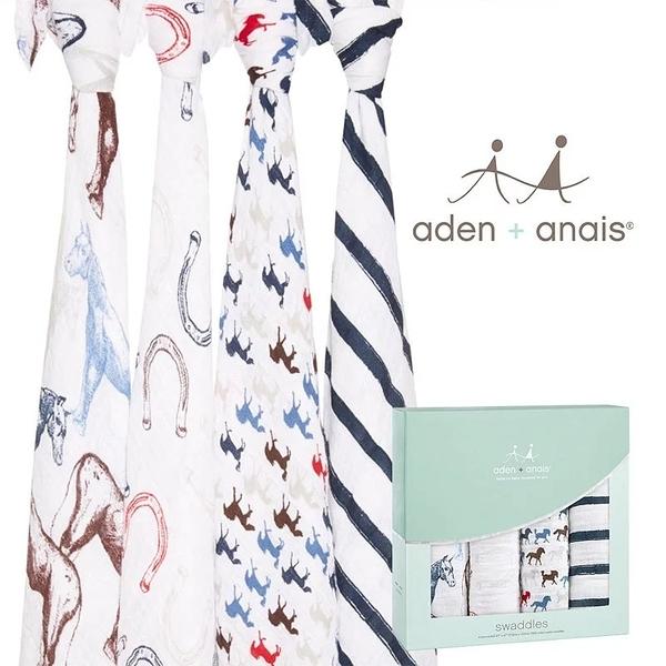 Aden+Anais 輕鬆抱寶寶包巾(四入裝) 萬馬奔騰款 2063[衛立兒生活館]