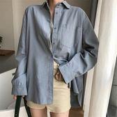 棉麻上衣 新韓版范寬鬆長袖棉麻襯衫女百搭顯瘦中長款上衣  都市時尚