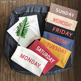 Free Shop 情侶款一星期MONDAY到SUNDAY寬鬆圓領棉落肩短T 小中大尺碼 短袖T恤上衣【QAAEF7303】