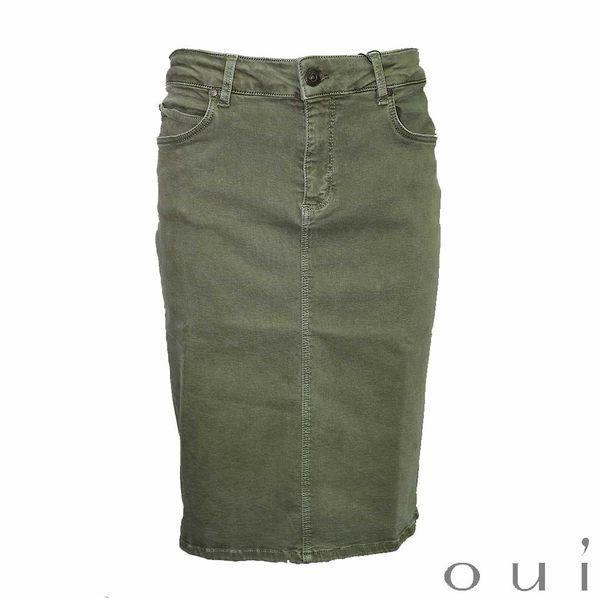 oui 德國品牌 軍綠休閒棉質窄裙 (中大尺碼服飾)