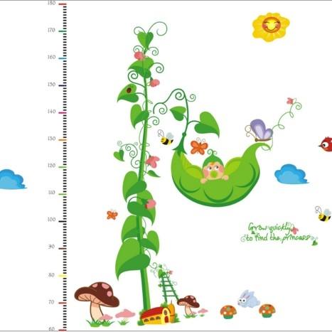 ►壁貼 豌豆身高尺貼 兒童卡通PVC透明膜牆貼紙家裝貼可移除牆貼紙【A3049】