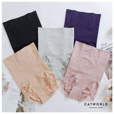 Catworld 無縫菱格花邊高腰提臀束腹褲【18804720】‧M-2XL