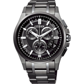 CITIZEN 星辰 鈦 光動能電波萬年曆手錶-黑/44mm BY0094-87E