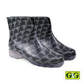 【G&G】時尚黑銀針織網紋短筒雨靴 (D02-GRY)