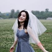 新款婚紗頭紗短款女新娘韓式簡約頭紗頭飾超仙網紅拍照森系頭紗白 滿天星