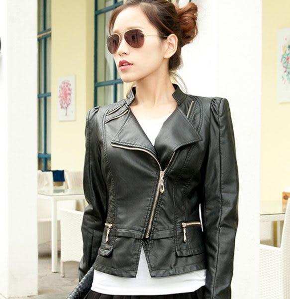 卡樂store…韓版皮衣女短款修身水洗PU皮外套 2色 黑色 S-XL #xsa66650