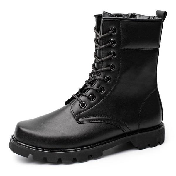 戰術鞋 戰靴男戶外作戰男靴高幫鋼頭鋼底男靴子秋冬季陸戰術鞋羊毛保安鞋 歐歐