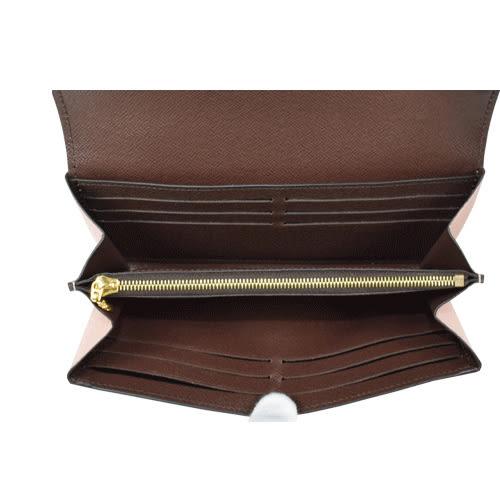 Louis Vuitton LV N61262 Normandy 棋盤格紋皮革拼接扣式長夾.粉 全新 預購【茱麗葉精品】