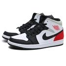 NIKE 籃球鞋 JORDAN AJ1 MID SE 黑灰紅 8孔 小UNION AJ1 黑頭 休閒鞋 男 (布魯克林) 852542-100
