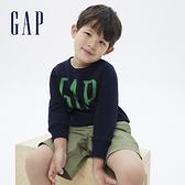 Gap男幼童 碳素軟磨系列 Logo刷毛休閒上衣 656444-海軍藍