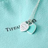 Tiffany&Co.正品 全新Return to Tiffany 經典系雙色雙心純銀項鍊 (藍)