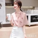 2020夏季新款雪紡衫女短袖甜美超仙蝴蝶結v領遮肚子大碼OL上衣洋氣小衫 LR26469『毛菇小象』