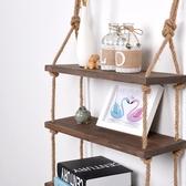 客廳置物架 墻上置物架免打孔簡約一字隔板麻繩復古實木壁掛客廳裝飾架層板【星時代女王】