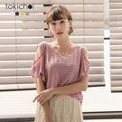 東京著衣-多色休閒甜心條紋削肩上衣(181274)