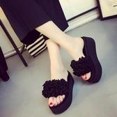 降價兩天 厚底拖鞋 2020新款拖鞋女夏時尚韓版外穿甜美花朵厚底鬆糕跟一字型涼拖鞋潮