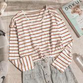 MUMU【T13286】條紋百搭薄長袖上衣。兩色