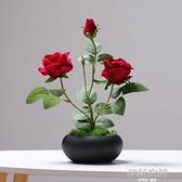 樸記 玫瑰花仿真花擺件 客廳假花干枝裝飾電視柜盆栽餐桌茶幾綠植