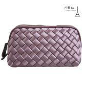 【巴黎站二手名牌專賣店】*現貨*Bottega Veneta BV 真品*經典編織紫色緞面小包 零錢包