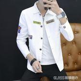 棒球服男士韓版修身牛仔夾克潮男裝男生外套    琉璃美衣