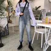 女裝褲子2019韓版復古寬鬆顯瘦牛仔背帶褲學生外搭九分吊帶連體褲