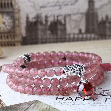 草莓晶手鏈薔薇輝石 手鏈 招桃花