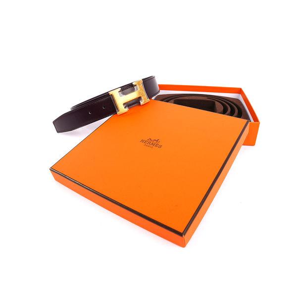 【HERMES】金色 H logo雙色皮帶( 深紫+ 淺紫 ) HE1B000012