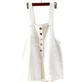 新款牛仔背帶短褲韓版白色寬鬆連身褲單排扣連體短褲女夏