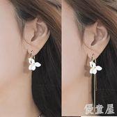 韓版氣質長款女個性百搭不對稱花朵超仙純銀耳環 YY1440『優童屋』