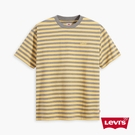 Levis 男款 條紋學院風短袖T恤 / 寬鬆休閒版型 / 精工刺繡Logo / 210GSM厚棉