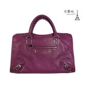 【巴黎站二手名牌專賣店】*現貨*BALENCIAGA 巴黎世家 真品*銀釦紫色CITY手提包肩背包