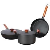 無塗層鐵鍋具套裝三件套不粘鍋炒鍋平底鍋湯鍋鍋 牛年新年全館免運