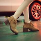 馬丁靴女英倫風學生韓版粗跟高跟短靴百搭圓頭裸靴