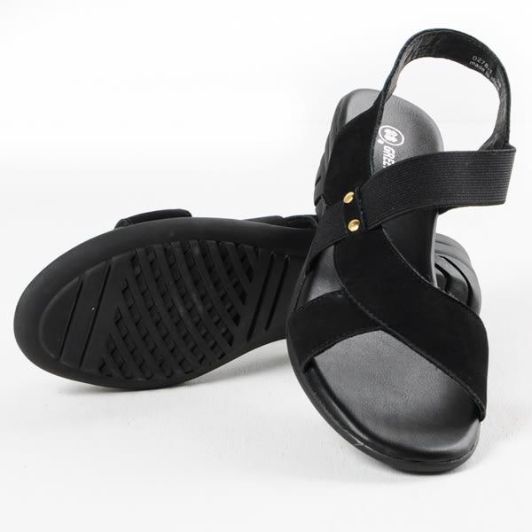 GREEN PINE 素面彈性鬆緊帶高跟涼鞋-黑色