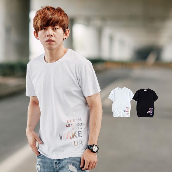 T恤 WAKE UP彩色漸層文字短T【NB0813J】