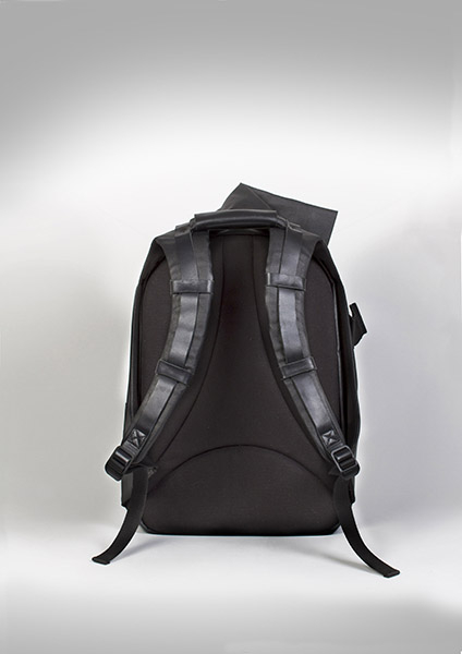 【cote&ciel】ISAR COATED CANVAS AND LEATHER Black No.28331塗層帆布後背包