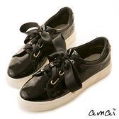 amai甜美緞帶蝴蝶結厚底休閒鞋 黑