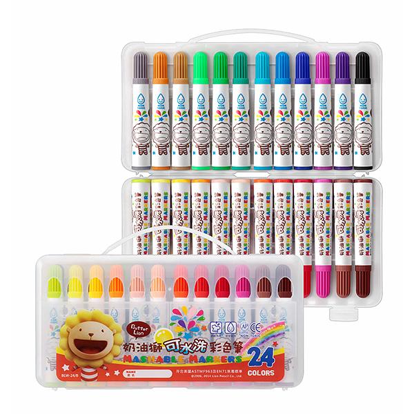 電視廣告促銷 奶油獅 BLW-12B 可水洗彩色筆12色 /盒