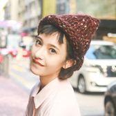 粗毛線帽子女日繫卷邊秋冬保暖加厚針織帽潮【聚寶屋】